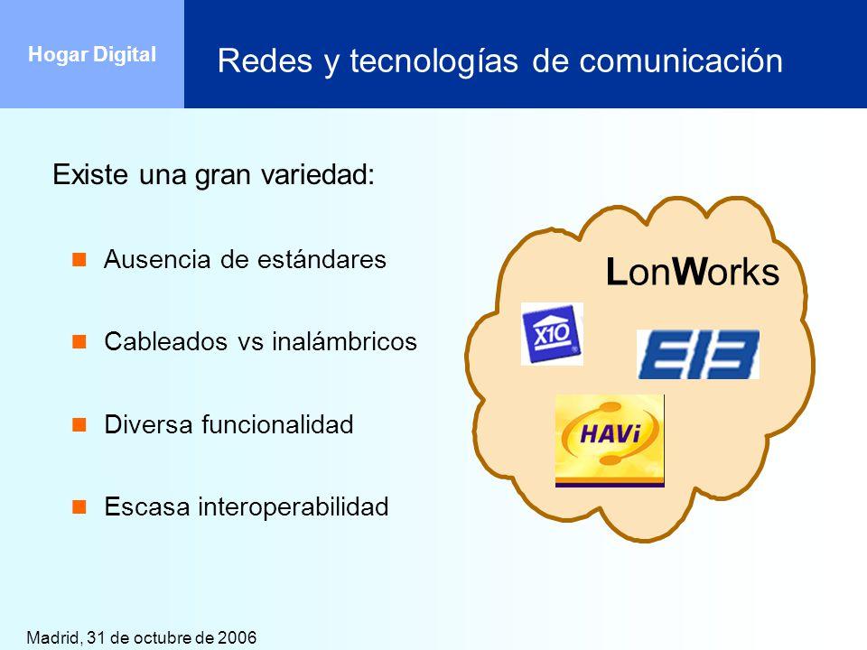 Madrid, 31 de octubre de 2006 Hogar Digital Redes y tecnologías de comunicación Existe una gran variedad: Ausencia de estándares Cableados vs inalámbr