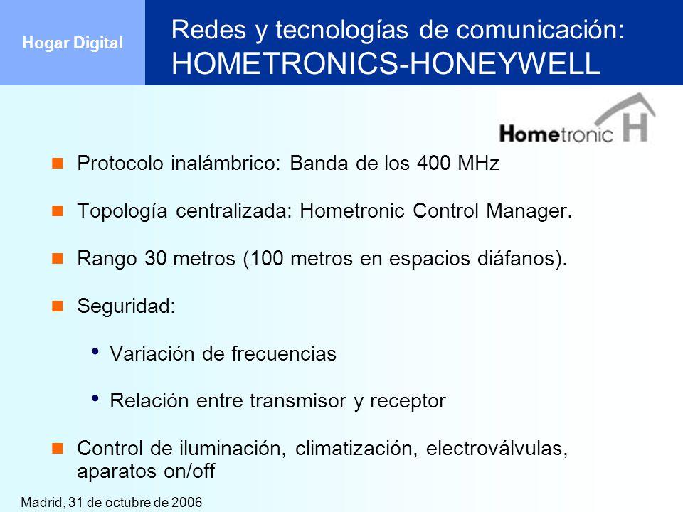 Madrid, 31 de octubre de 2006 Hogar Digital Redes y tecnologías de comunicación: HOMETRONICS-HONEYWELL Protocolo inalámbrico: Banda de los 400 MHz Top
