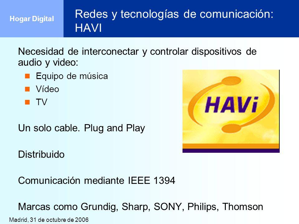 Madrid, 31 de octubre de 2006 Hogar Digital Redes y tecnologías de comunicación: HAVI Necesidad de interconectar y controlar dispositivos de audio y v