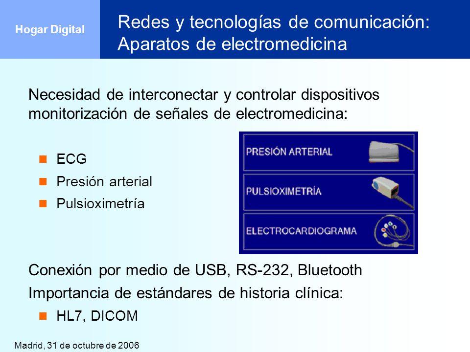 Madrid, 31 de octubre de 2006 Hogar Digital Redes y tecnologías de comunicación: Aparatos de electromedicina Necesidad de interconectar y controlar di