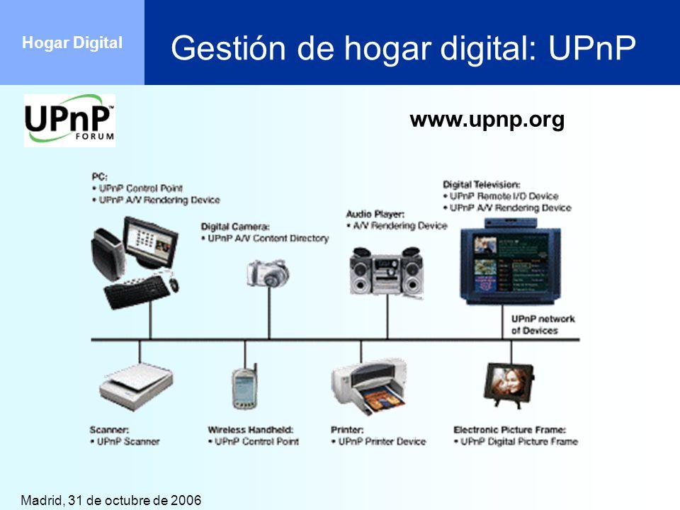Madrid, 31 de octubre de 2006 Hogar Digital Gestión de hogar digital: UPnP www.upnp.org