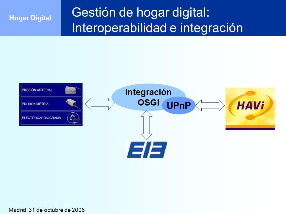 Madrid, 31 de octubre de 2006 Hogar Digital Gestión de hogar digital: Interoperabilidad e integración Integración OSGI UPnP
