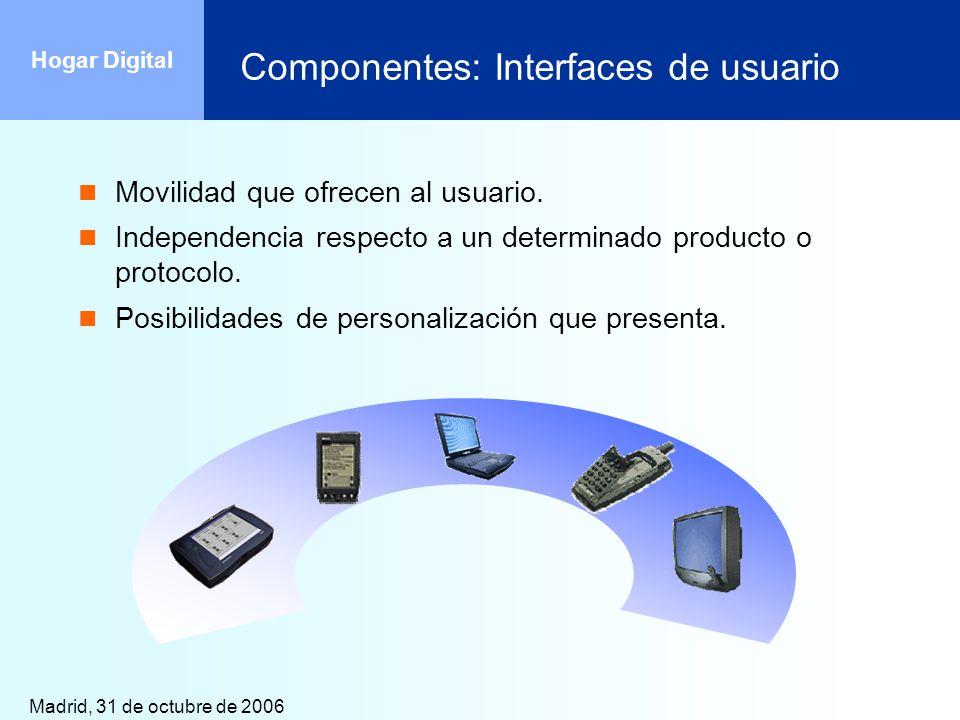 Madrid, 31 de octubre de 2006 Hogar Digital Componentes: Interfaces de usuario Movilidad que ofrecen al usuario. Independencia respecto a un determina