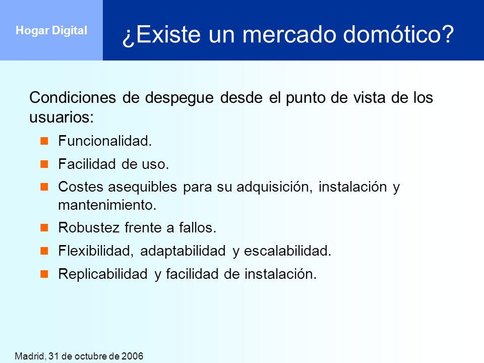 Madrid, 31 de octubre de 2006 Hogar Digital ¿Existe un mercado domótico? Condiciones de despegue desde el punto de vista de los usuarios: Funcionalida
