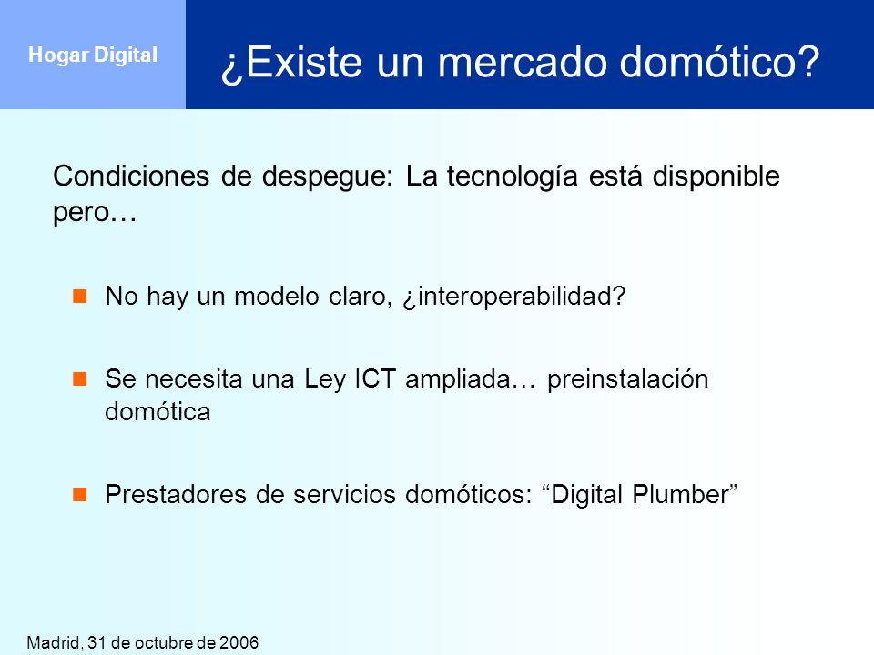 Madrid, 31 de octubre de 2006 Hogar Digital ¿Existe un mercado domótico? Condiciones de despegue: La tecnología está disponible pero… No hay un modelo