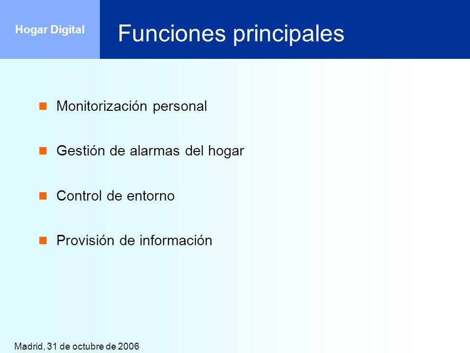 Madrid, 31 de octubre de 2006 Hogar Digital Funciones principales Monitorización personal Gestión de alarmas del hogar Control de entorno Provisión de