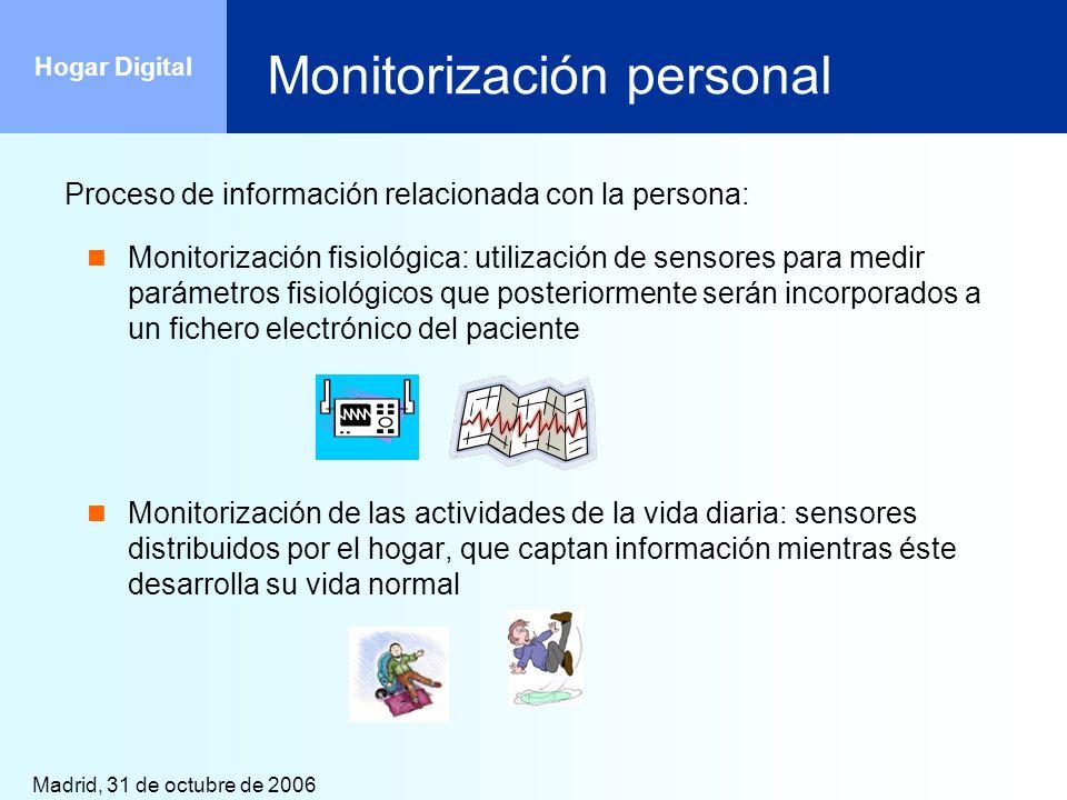 Madrid, 31 de octubre de 2006 Hogar Digital Monitorización personal Proceso de información relacionada con la persona: Monitorización fisiológica: uti