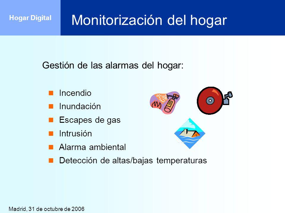 Madrid, 31 de octubre de 2006 Hogar Digital Monitorización del hogar Gestión de las alarmas del hogar: Incendio Inundación Escapes de gas Intrusión Al