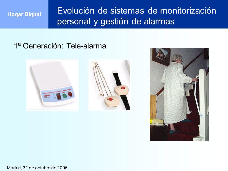 Madrid, 31 de octubre de 2006 Hogar Digital Evolución de sistemas de monitorización personal y gestión de alarmas 1ª Generación: Tele-alarma