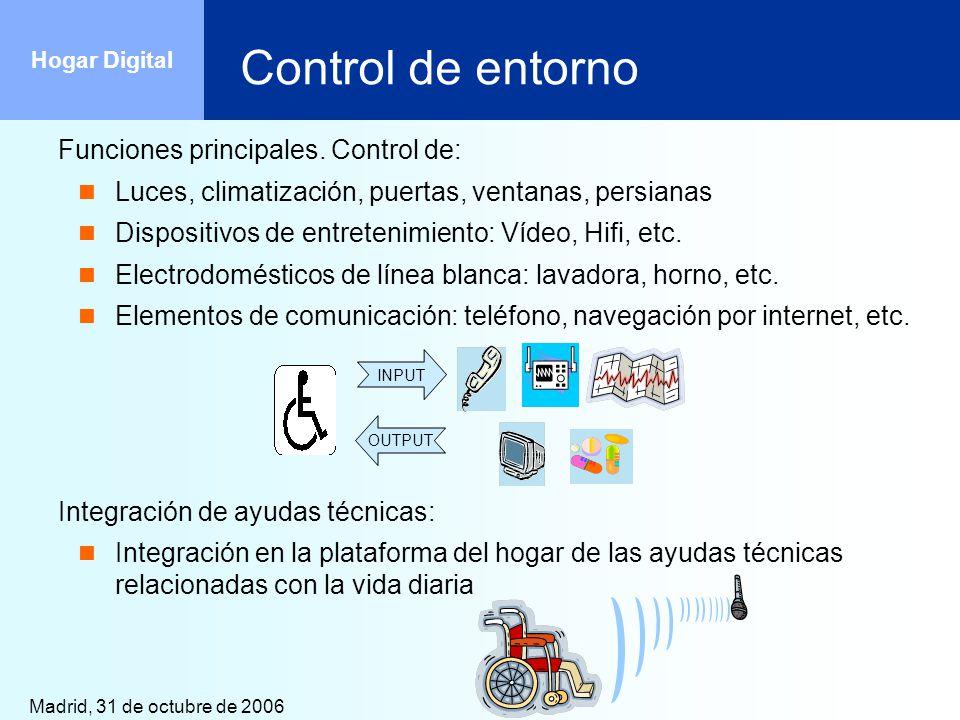 Madrid, 31 de octubre de 2006 Hogar Digital Control de entorno Funciones principales. Control de: Luces, climatización, puertas, ventanas, persianas D