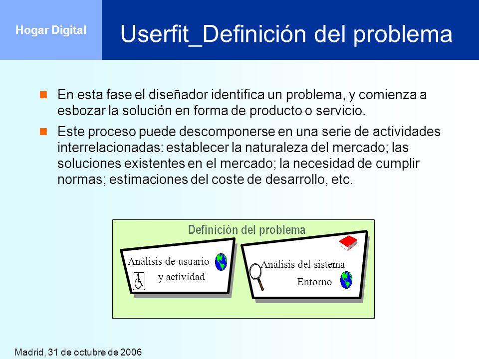 Madrid, 31 de octubre de 2006 Hogar Digital Userfit_Definición del problema En esta fase el diseñador identifica un problema, y comienza a esbozar la