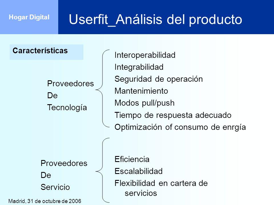Madrid, 31 de octubre de 2006 Hogar Digital Userfit_Análisis del producto Características Proveedores De Tecnología Interoperabilidad Integrabilidad S