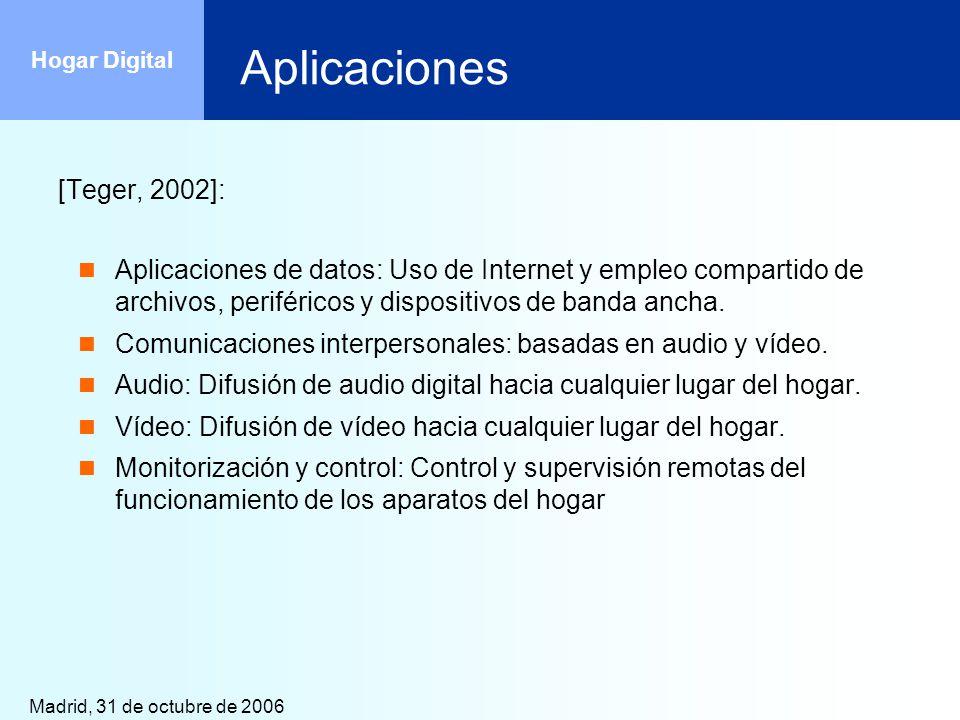 Madrid, 31 de octubre de 2006 Hogar Digital Gestión de hogar digital: UPnP Permite integrar en una misma red dispositivos de distinto tipo: Dispositivos UPnP Dispositivos no UPnP, conectados mediante adaptadores Permite integrar redes diferentes (inalámbrico/cableado, mutimedia/iluminación/climatización) Está basado en tecnologías universalmente extendidas en Internet (IP, TCP, UDP, HTTP, XML, SOAP, etc.) Permite la agregación dinámica de dispositivos.