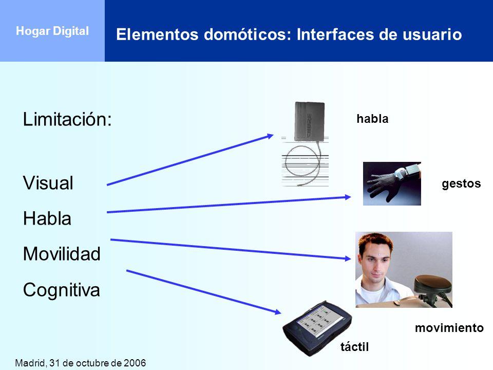 Madrid, 31 de octubre de 2006 Hogar Digital habla gestos táctil movimiento Limitación: Visual Habla Movilidad Cognitiva Elementos domóticos: Interface