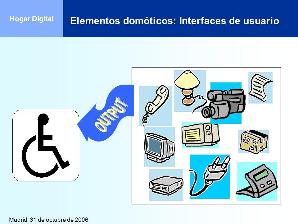 Madrid, 31 de octubre de 2006 Hogar Digital Elementos domóticos: Interfaces de usuario