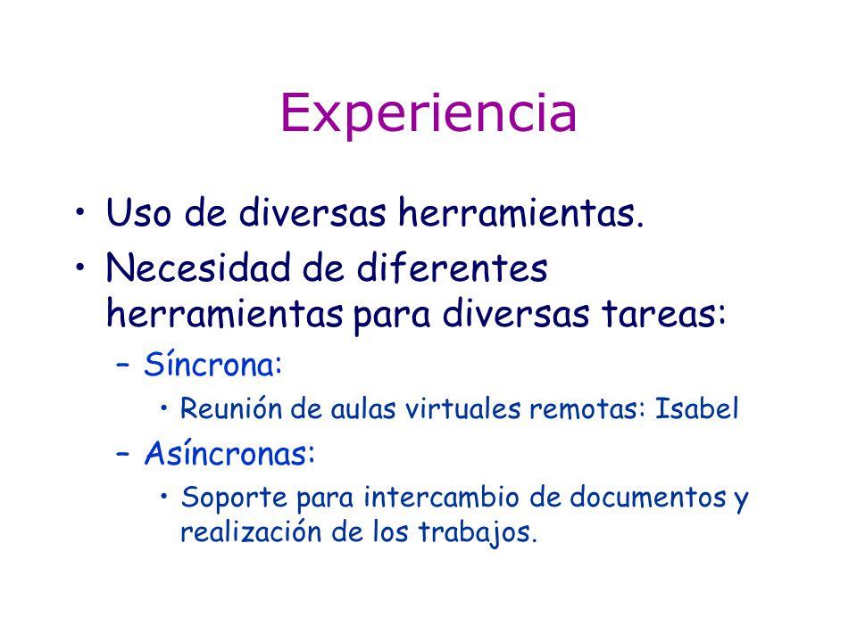 Experiencia Uso de diversas herramientas. Necesidad de diferentes herramientas para diversas tareas: –Síncrona: Reunión de aulas virtuales remotas: Is