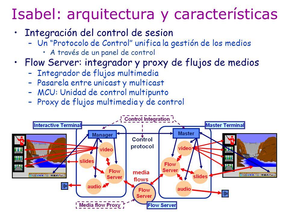 Isabel: arquitectura y características Integración del control de sesion –Un Protocolo de Control unifica la gestión de los medios A través de un pane