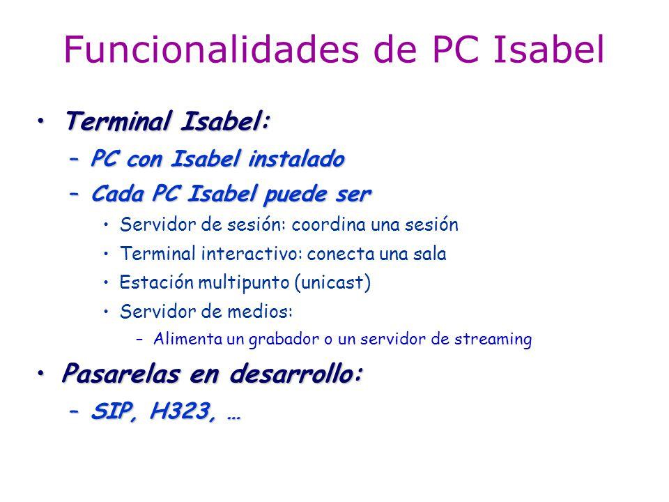 Funcionalidades de PC Isabel Terminal Isabel:Terminal Isabel: –PC con Isabel instalado –Cada PC Isabel puede ser Servidor de sesión: coordina una sesi