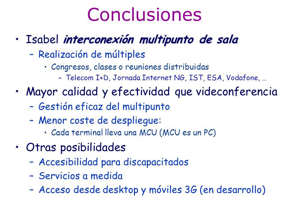 Conclusiones interconexión multipunto de salaIsabel interconexión multipunto de sala –Realización de múltiples Congresos, clases o reuniones distribui