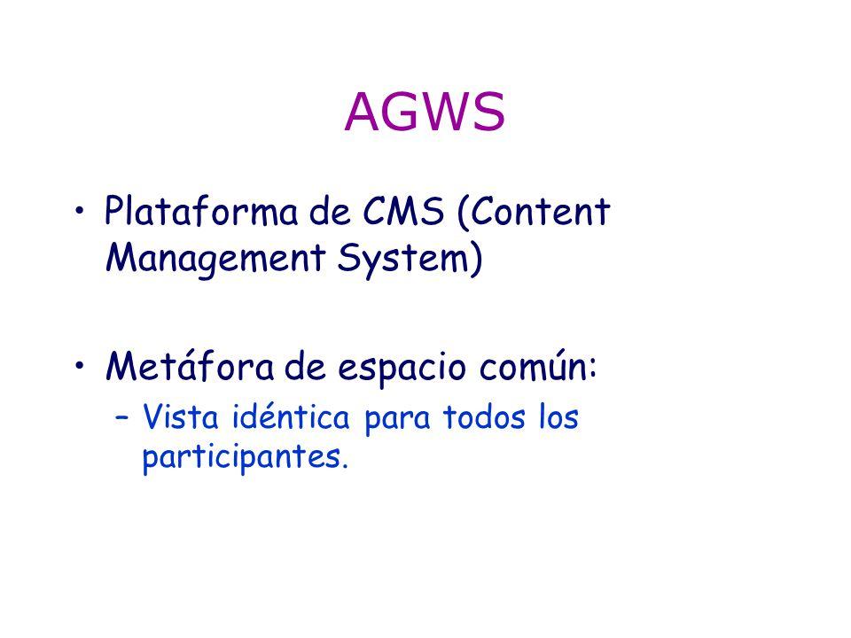 AGWS Plataforma de CMS (Content Management System) Metáfora de espacio común: –Vista idéntica para todos los participantes.