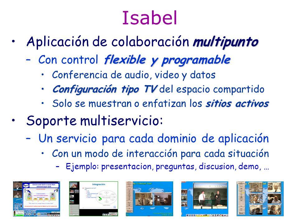 ISABEL: historia El concepto de servicio Isabel se desarrollo en: –Escuelas de Verano RACE/ACTS: ABC93 - ABC96 ABC´93: 2 auditorios (España-Portugal) ABC´94: 5 auditorios (España, Portugal, Suiza) ABC´95: 11 auditorios (Europa) ABC´96: 16 auditorios (Europa & Canadá) –Entre ABC93 y ABC96 se desarrolló el servicio de Realización de congresos distribuidosRealización de congresos distribuidos: Tele-conference serv.