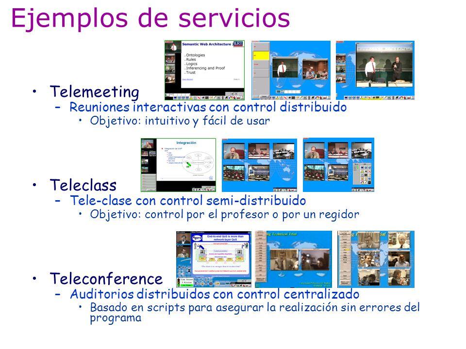 Ejemplos de servicios Telemeeting –Reuniones interactivas con control distribuido Objetivo: intuitivo y fácil de usar Teleclass –Tele-clase con contro