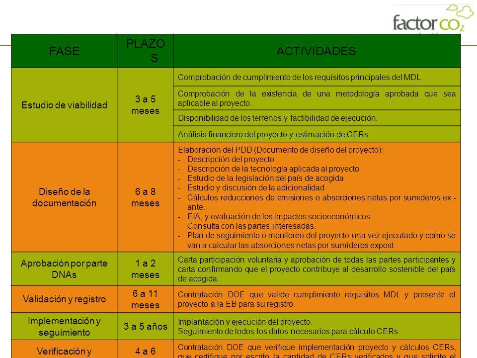 16 FASE PLAZO S ACTIVIDADES Estudio de viabilidad 3 a 5 meses Comprobación de cumplimiento de los requisitos principales del MDL. Comprobación de la e