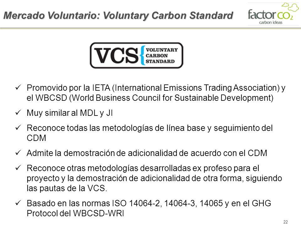 22 Mercado Voluntario: Voluntary Carbon Standard Promovido por la IETA (International Emissions Trading Association) y el WBCSD (World Business Counci