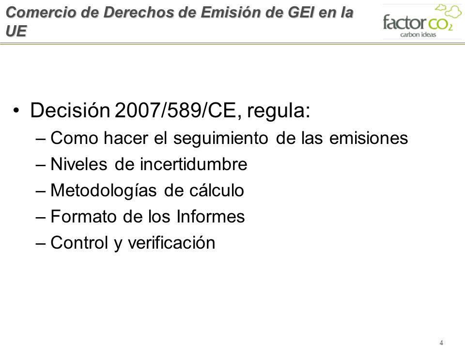 4 Comercio de Derechos de Emisión de GEI en la UE Decisión 2007/589/CE, regula: –Como hacer el seguimiento de las emisiones –Niveles de incertidumbre