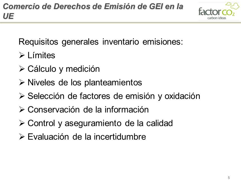 5 Requisitos generales inventario emisiones: Límites Cálculo y medición Niveles de los planteamientos Selección de factores de emisión y oxidación Con