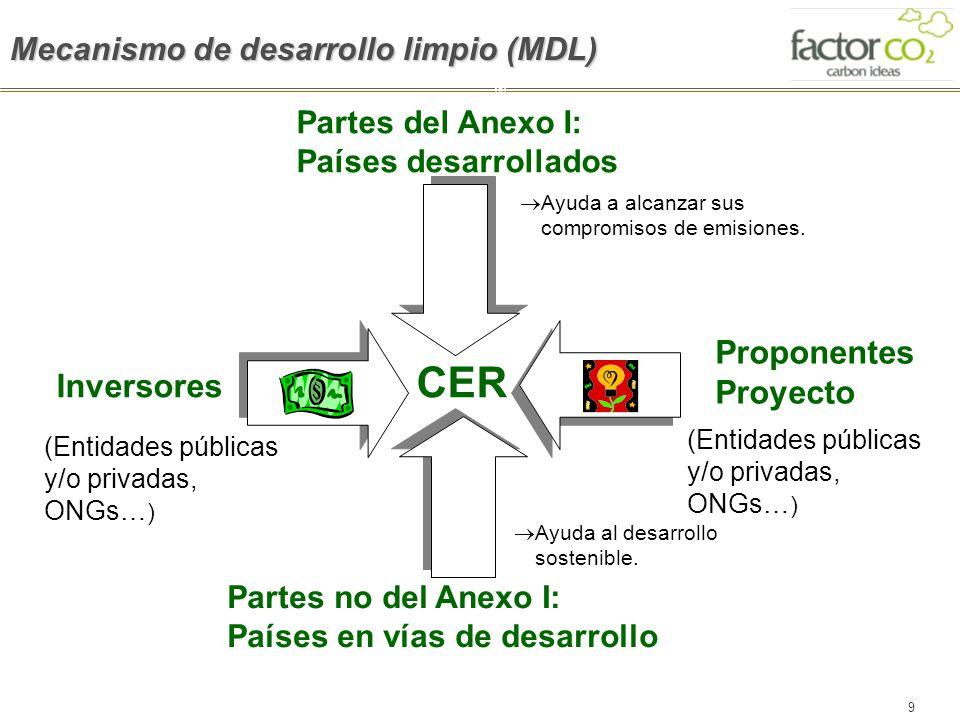 9 Partes del Anexo I: Países desarrollados Ayuda a alcanzar sus compromisos de emisiones. Inversores Partes no del Anexo I: Países en vías de desarrol