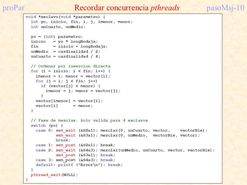 proPar Recordar concurrencia pthreadspasoMsj-10 void *esclavo(void *parametro) { int yo, inicio, fin, i, j, imenor, menor; int unCuarto, unMedio; yo =