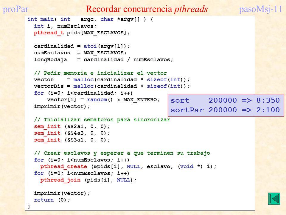 proPar Recordar concurrencia pthreadspasoMsj-11 int main( int argc, char *argv[] ) { int i, numEsclavos; pthread_t pids[MAX_ESCLAVOS]; cardinalidad =