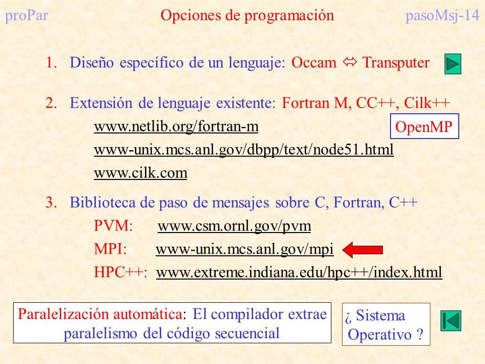 proParOpciones de programaciónpasoMsj-14 1.Diseño específico de un lenguaje: Occam Transputer 2.Extensión de lenguaje existente: Fortran M, CC++, Cilk