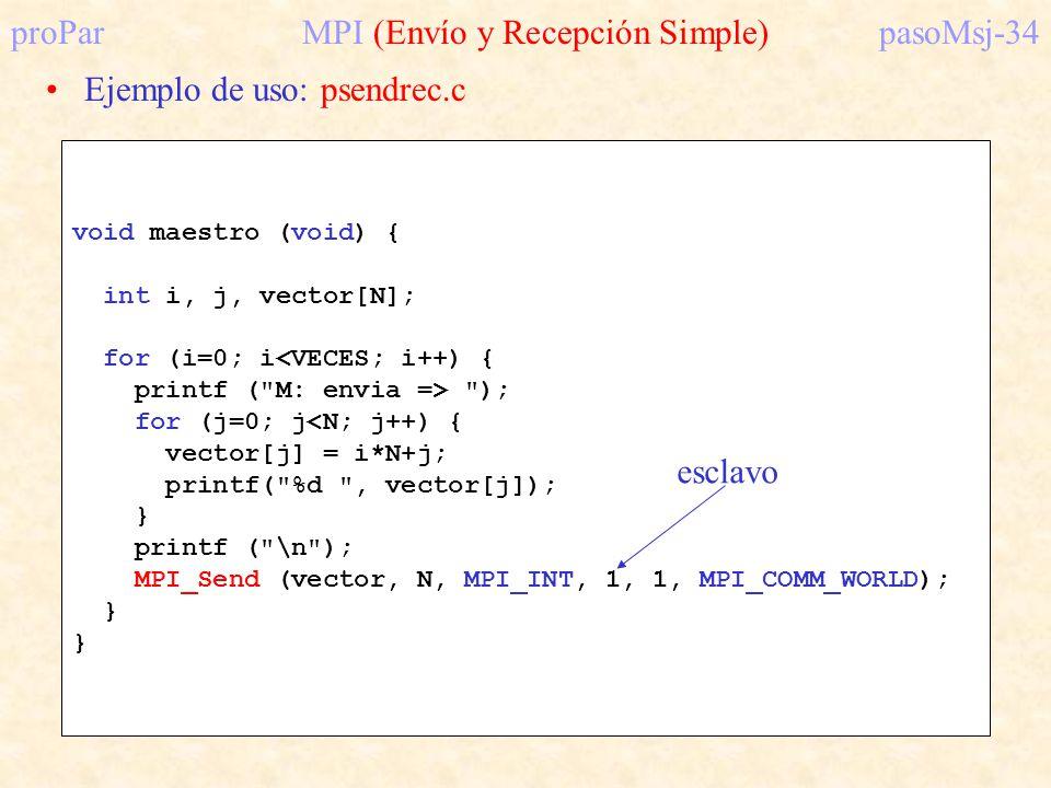 proParMPI (Envío y Recepción Simple)pasoMsj-34 Ejemplo de uso: psendrec.c void maestro (void) { int i, j, vector[N]; for (i=0; i<VECES; i++) { printf