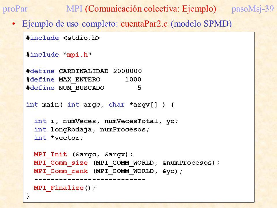 proParMPI (Comunicación colectiva: Ejemplo)pasoMsj-39 Ejemplo de uso completo: cuentaPar2.c (modelo SPMD) #include #include mpi.h
