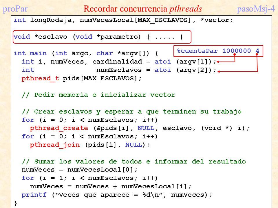 proPar Recordar concurrencia pthreadspasoMsj-4 int longRodaja, numVecesLocal[MAX_ESCLAVOS], *vector; void *esclavo (void *parametro) {..... } int main