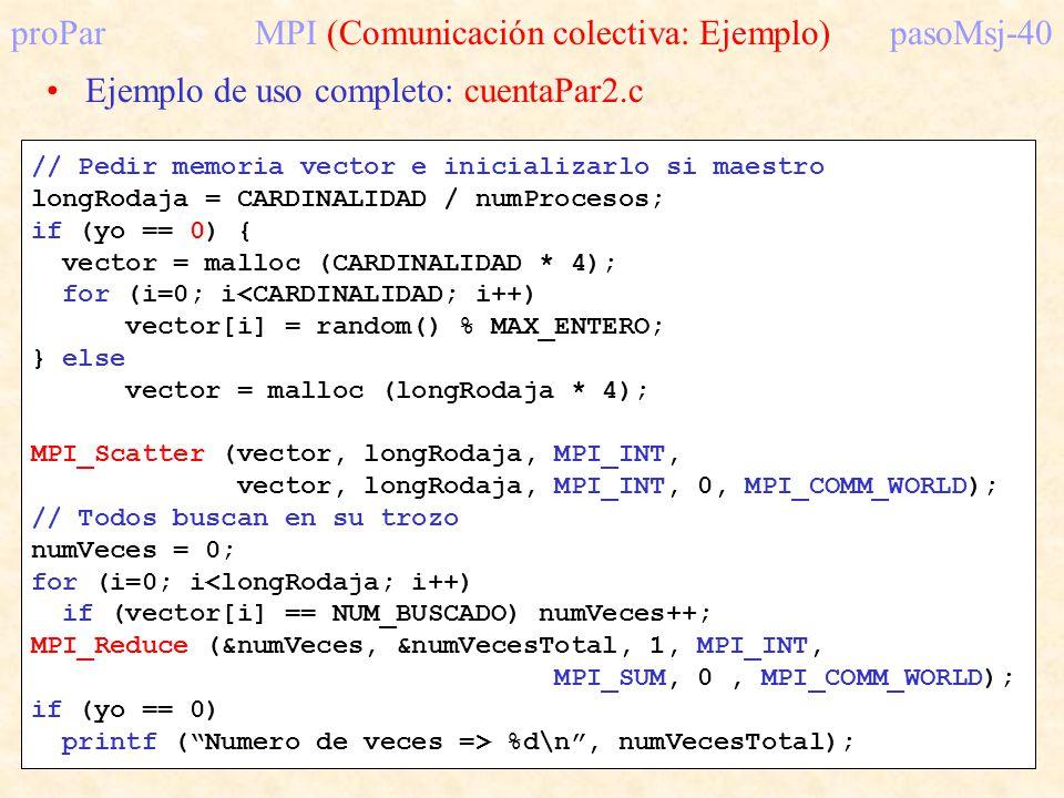 proParMPI (Comunicación colectiva: Ejemplo)pasoMsj-40 Ejemplo de uso completo: cuentaPar2.c // Pedir memoria vector e inicializarlo si maestro longRod