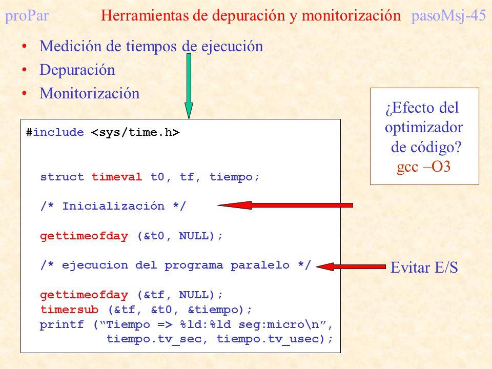 proParHerramientas de depuración y monitorizaciónpasoMsj-45 Medición de tiempos de ejecución Depuración Monitorización #include struct timeval t0, tf,