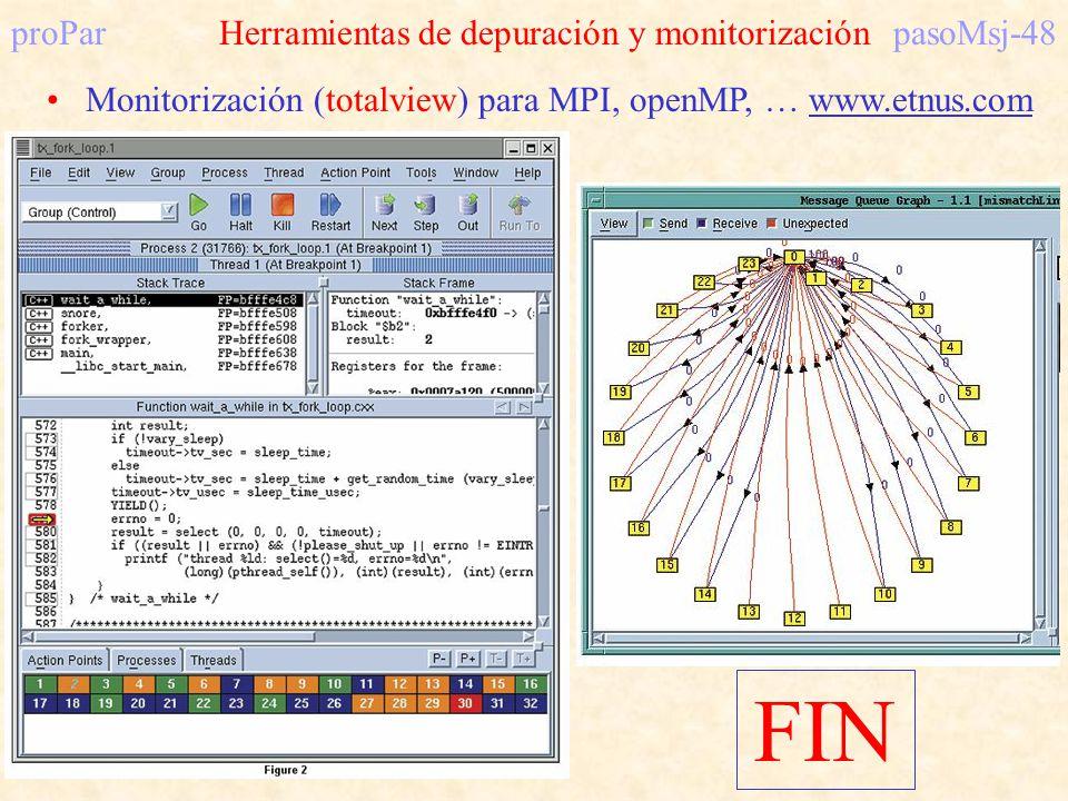 proParHerramientas de depuración y monitorizaciónpasoMsj-48 Monitorización (totalview) para MPI, openMP, … www.etnus.com FIN