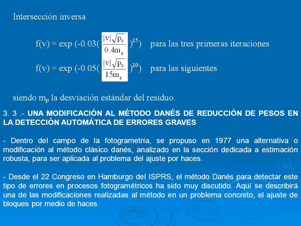 3. 3.- UNA MODIFICACIÓN AL MÉTODO DANÉS DE REDUCCIÓN DE PESOS EN LA DETECCIÓN AUTOMÁTICA DE ERRORES GRAVES - Dentro del campo de la fotogrametría, se