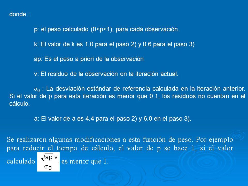 donde : p: el peso calculado (0<p<1), para cada observación. k: El valor de k es 1.0 para el paso 2) y 0.6 para el paso 3) ap: Es el peso a priori de