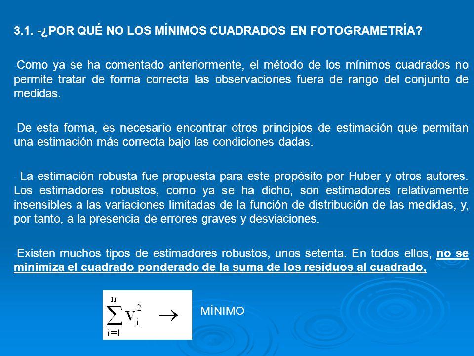 3.1. -¿POR QUÉ NO LOS MÍNIMOS CUADRADOS EN FOTOGRAMETRÍA? - Como ya se ha comentado anteriormente, el método de los mínimos cuadrados no permite trata