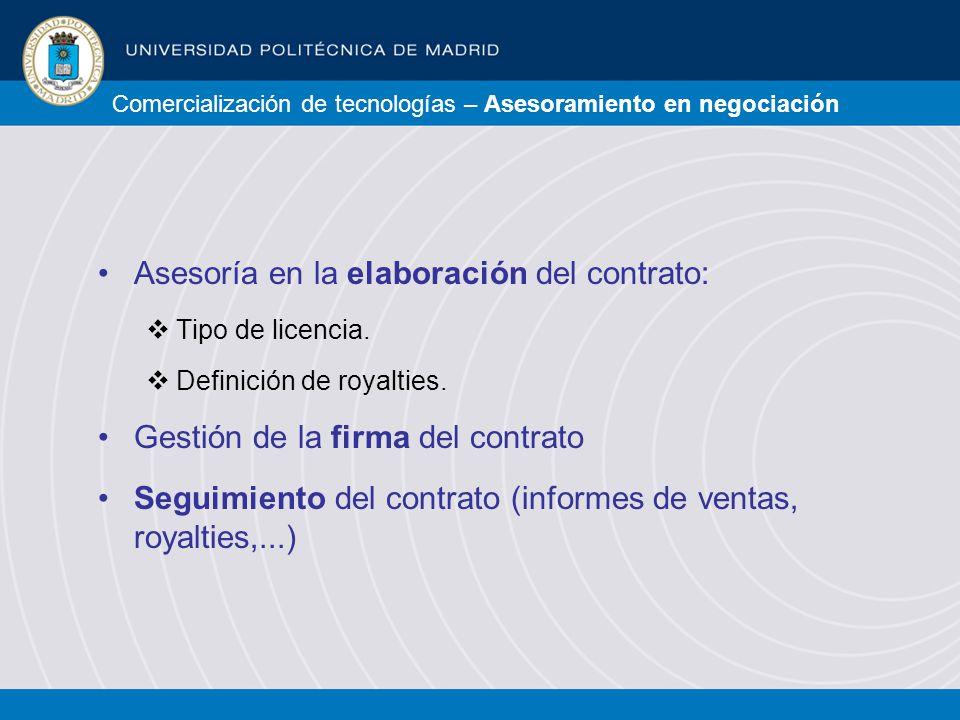 Comercialización de tecnologías – Asesoramiento en negociación Asesoría en la elaboración del contrato: Tipo de licencia.