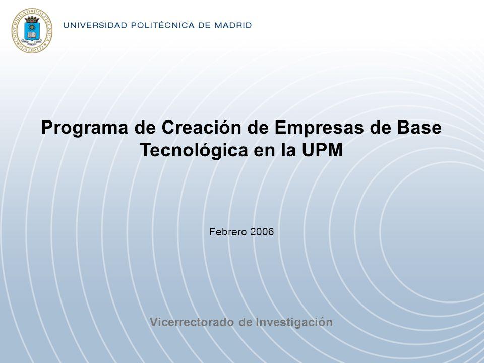 Programa de Creación de Empresas de Base Tecnológica en la UPM Vicerrectorado de Investigación Febrero 2006