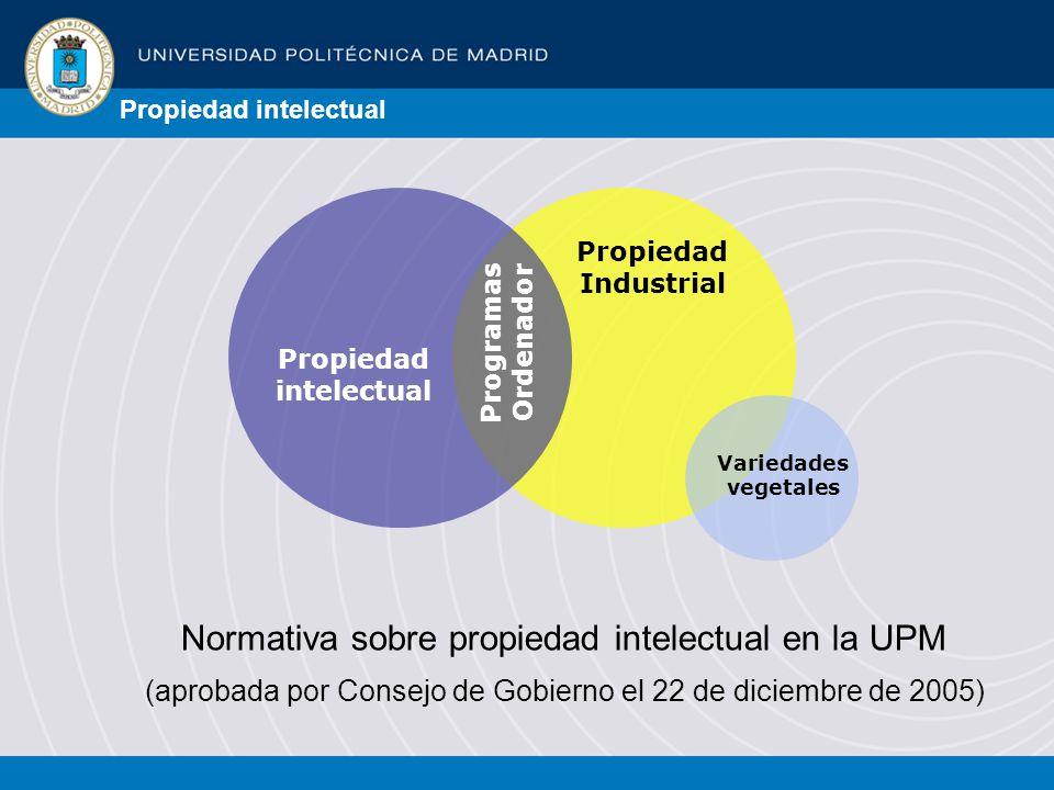 Propiedad intelectual Propiedad Industrial Programas Ordenador Variedades vegetales Normativa sobre propiedad intelectual en la UPM (aprobada por Consejo de Gobierno el 22 de diciembre de 2005)