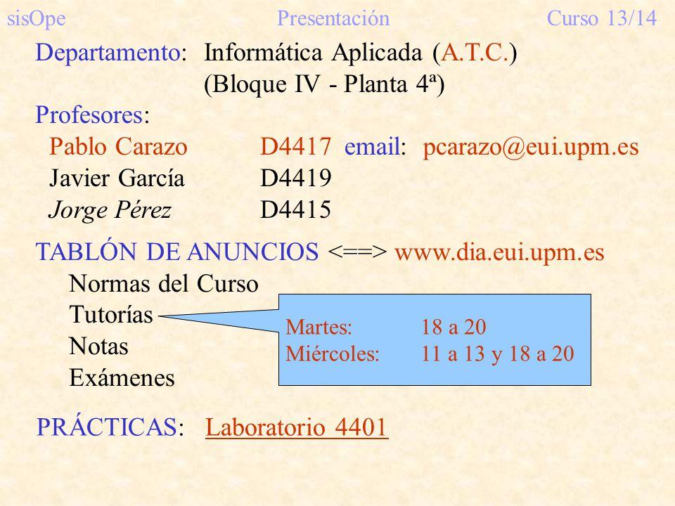 TABLÓN DE ANUNCIOS www.dia.eui.upm.es Normas del Curso Tutorías Notas Exámenes sisOpePresentaciónCurso 13/14 Departamento:Informática Aplicada (A.T.C.