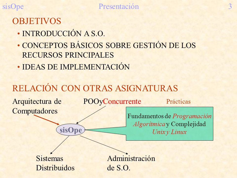 RELACIÓN CON OTRAS ASIGNATURAS Arquitectura dePOOyConcurrente Computadores sisOpe SistemasAdministración Distribuidosde S.O. OBJETIVOS INTRODUCCIÓN A