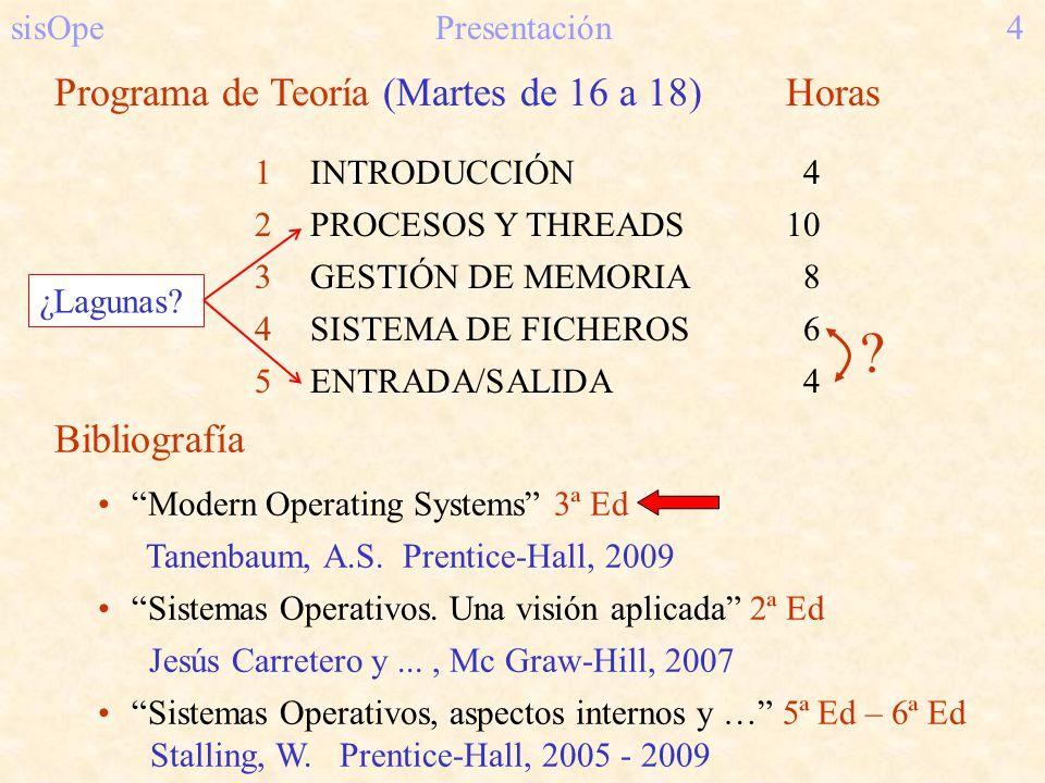 sisOpePresentación4 Programa de Teoría (Martes de 16 a 18) Horas 1INTRODUCCIÓN 4 2PROCESOS Y THREADS10 3GESTIÓN DE MEMORIA 8 4SISTEMA DE FICHEROS 6 5E