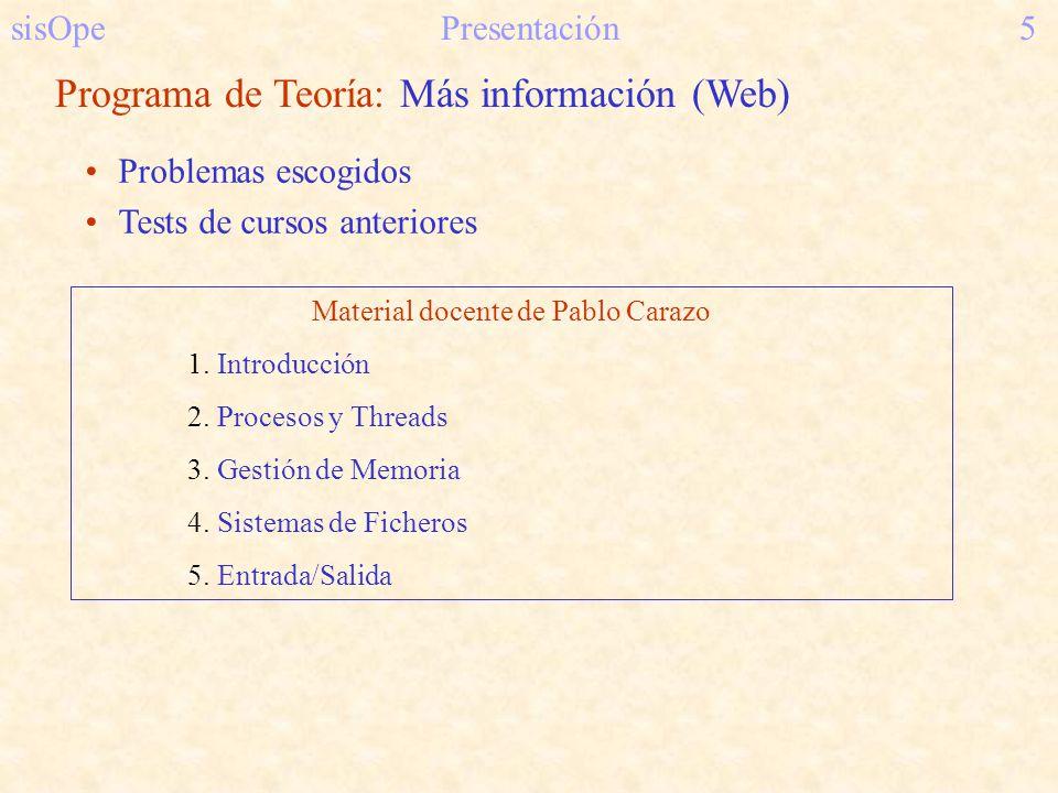 sisOpePresentación5 Programa de Teoría: Más información (Web) Problemas escogidos Tests de cursos anteriores Material docente de Pablo Carazo 1. Intro